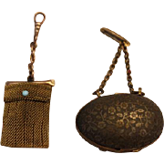 Pair of antique brass small doll size chatelaine purse, purses. Great for  your  French Fashio