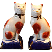 """SOLD English Staffordshire pair of cats, on pillows, 7 1/4"""" tall in size, crazing going o"""