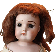 """SOLD Sweet little German closed mouth doll shoulderhead doll, only 13"""" tall, original kid"""