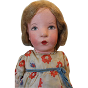 """Wonderful Kathe Kruse cloth doll, 20"""" tall, Great condition, lines on face, original hair"""