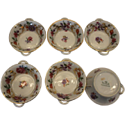 SALE 6 piece Herend Queen Victoria Double Handle Floral Motif tiny bowls, Salts, salt holder .