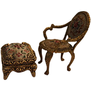SALE French  antique Ormolu gold metal  framed small doll house furniture.   Chair and  ottoma