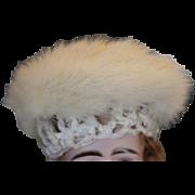 "SALE off white mink fur doll hat! Fun winter doll hat! Shown on 10"" head ..."