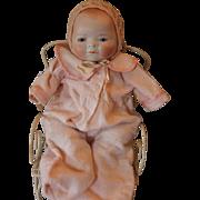 """SALE Sweet small Bye Lo Baby Girl! 12"""" long in size, Grace Storey Putnam doll ..."""