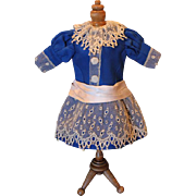 SALE Wonderful Royal Blue Wool doll dress, made of antique fabric and laces. Old buttons ...