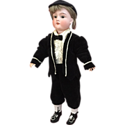 "Cute 15"" Schoenau and Hoffmeister boy in all antique costume"