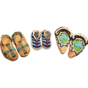 Three fantastic pair of antique American Indian doll moccasins