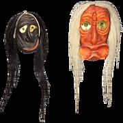 Two Beautiful Iroquois miniature false face masks