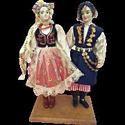 Wonderful Vintage doll couple in Krakow festival  costumes