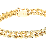14-Karat Yellow Two-Row Gold Rope Bracelet