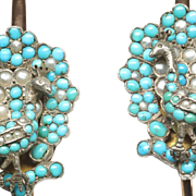 Pair of Victorian Bangle Bracelets with Turquoises and Half-Pearls, Depicting Peacocks