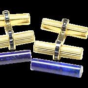 Van Cleef & Arpels VCA 18K Yellow Gold, Lapis Interchangeable Baton Cufflinks