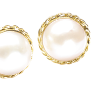Mabe' Cultured Pearl Earrings, c. 1980