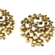 Circular Pierced and Domed 'Refined Nugget' Earrings, c. 1960s