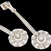 14-Karat White Gold Dangle Earrings with Diamonds, c. 1970