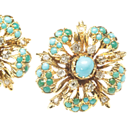 Large Victorian Earrings Set with Turquoises and Diamonds