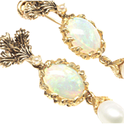 Earrings with Opal and Cultured Pearl, c. 1980s