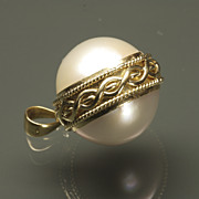 Spherical Mabe Cultured Pearl Pendant, c. 1985