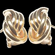 Tubular Fancy Knot Design Earrings, c. 1970s