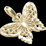 Petite 14-Karat Yellow Gold Butterfly Pendant, c. 1980s