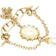 Opal and Cultured Pearl Brooch, c. 1980s
