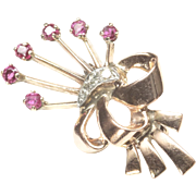 1940s Retro 14-Karat Rose Gold Flower Pin with Rubies and Diamonds