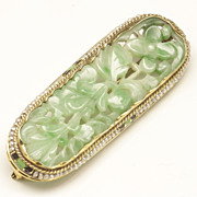 Art Deco Carved Jadeite Jade, Seed Pearl and Enamel Brooch