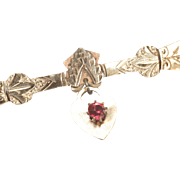 Gold-filled Bar Pin, Victorian, with Red Faceted Glass