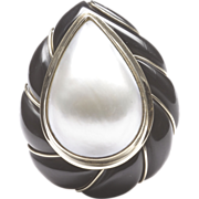Pear-Shaped Mabe' Cultured Pearl and Black Onyx Ring, by Mazza