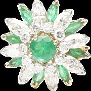 Emerald and Diamond Dinner Ring by Oscar Heyman, c. 1980
