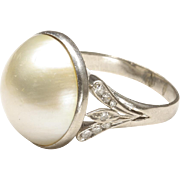 Cultured Mabe' Pearl Ring with Small Diamonds, c. 1970