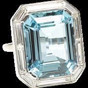 Prominent Aquamarine and Diamond Ring, Art Deco Period
