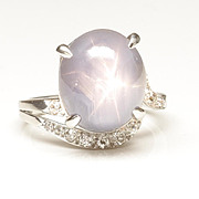 Blue Star Sapphire and Diamond Ring in 90% Platinum, c. 1965