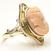 Art Deco Coral Cameo Ring