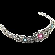 REDUCED Trifari rhinestone floral bracelet Alfred Philippe Pat.1940