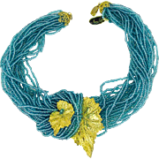 Miriam Haskell turquoise glass seed bead torsade necklace