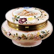 Antique Victorian jewelry box or powder jar, enameled opaline glass