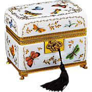 REDUCED Antique French Opaline Crystal glass Casket signed R.Noirot