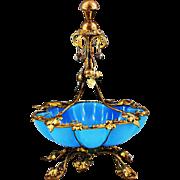 "9""H Antique French Palais Royale blue opaline glass Bowl, ormolu mounts"