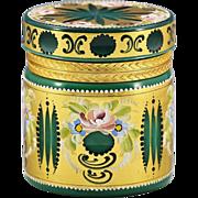 Bohemian malachite green enamelled glass trinket Box