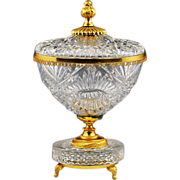 SOLD French clear crystal Bowl with lid on gilded bronze base