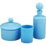 SOLD Blue opaline glass Vanity set Perfume bottle Powder box and Tumbler