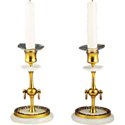 SOLD Pair of antique French bronze dore champleve white onyx Candlesticks candle holders