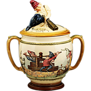 Antique German ceramic lidded Tureen Finial in the form of a troll opening a bottle