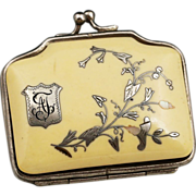 Antique French Ivory coin purse with silver and mother of pearl inlay