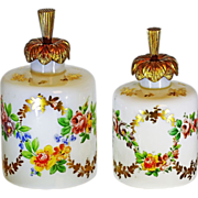 2* of Antique French R.Noirot opaline crystal glass Perfume Bottles, signed
