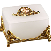 22K gold plate Opaque Opaline glass trinket Box
