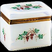 Vintage large Italian Opaline crystal glass trinket Box, hinged lid, hand painted clusters of