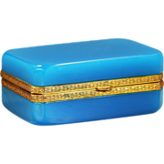Vintage Murano blue opaline crystal glass Casket Italian Seguso Ferro