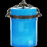 French Blue Opaline Glass Box with Silver Ormolu Mounts flexible handle